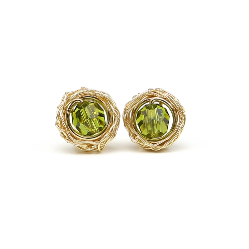 Sweet Olivine - stud earrings