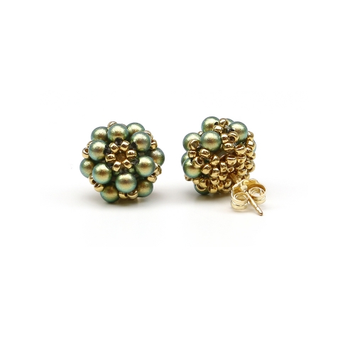 Stud earrings with green Swarovski pearls - for women - Daisies Iridescent Green