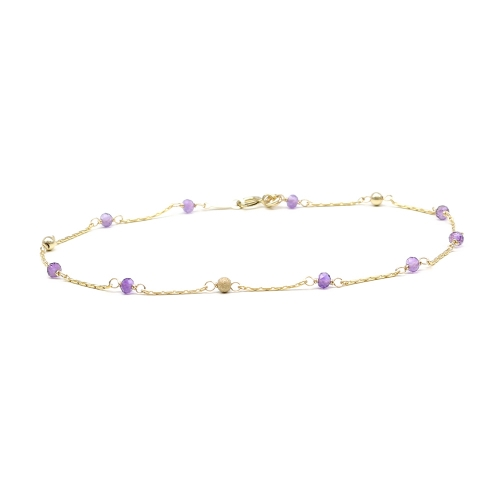 Bracelet with purple gemstones - for women - Lucky Charm Amethyst
