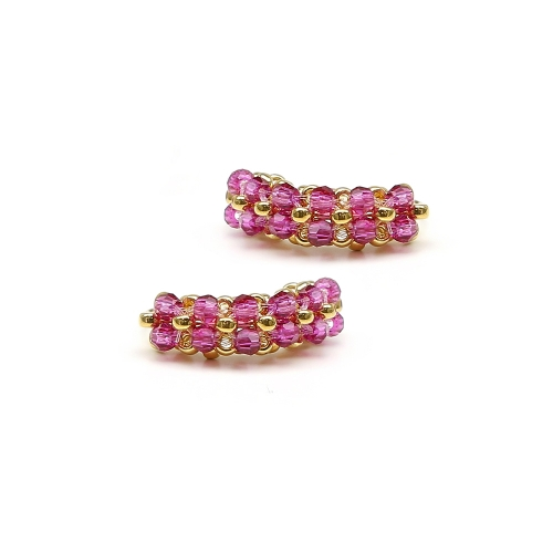 Earrings with pink Swarovski crystals - for women - MiniDiva Fuchsia