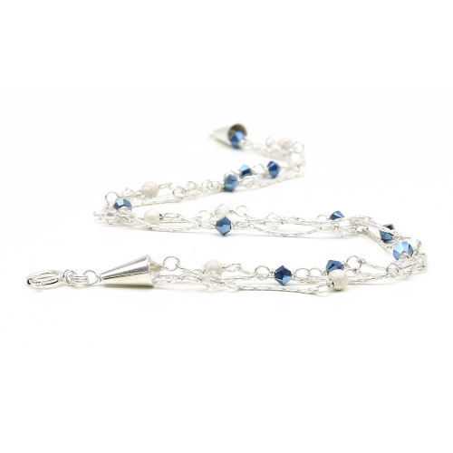 Silver bracelet with Swarovski crystals - for women - Charm Blue