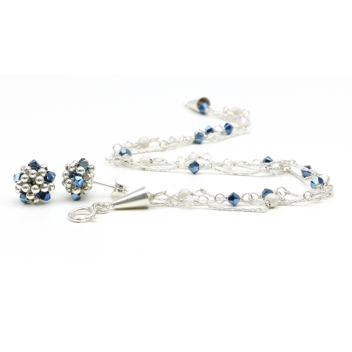 Silver set with Swarovski crystals - bracelet and stud earrings - for women - Charm Blue