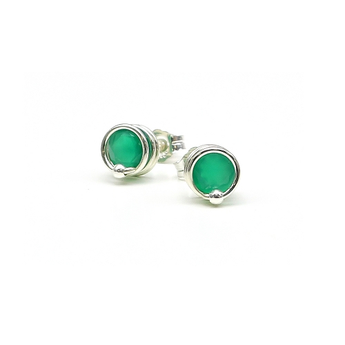 Busted Deluxe Green Onyx 925 Silver - stud earrings