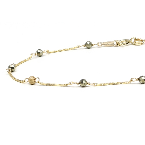 Gemstone bracelet - for women - Lucky Charm Pyrite