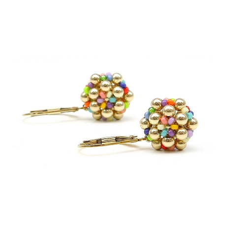 Golden Daisies Miyuki Multicolor - leverback earrings