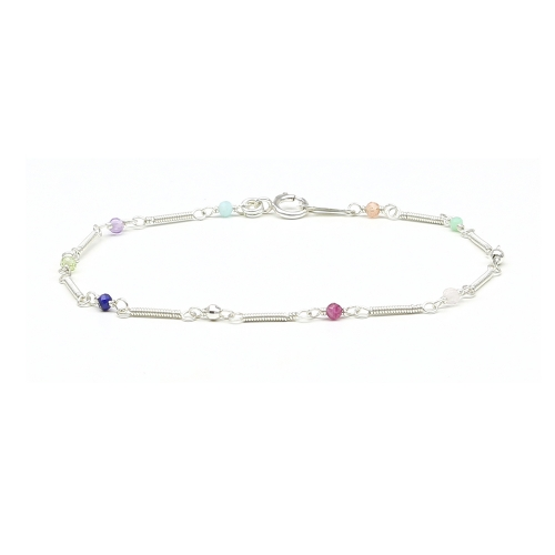 Gemstone silver bracelet - for women - Lady Charm Spiral Style 925 Silver