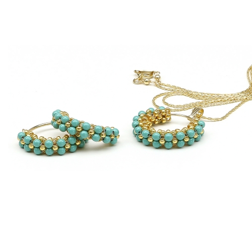 Primetime Pearls Jade set - pendant and earrings