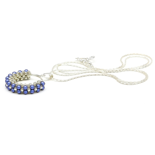 Swarovski pearls silver pendant for women - Primetime Pearls Iridescent Dark Blue 925 Silver