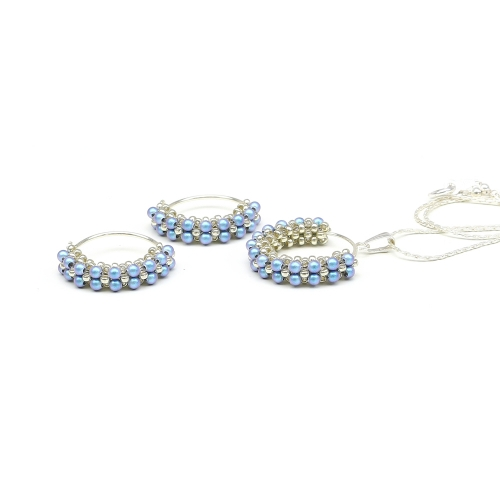 Primetime Pearls Iridescent Light Blue set - pandantiv si cercei AG 025
