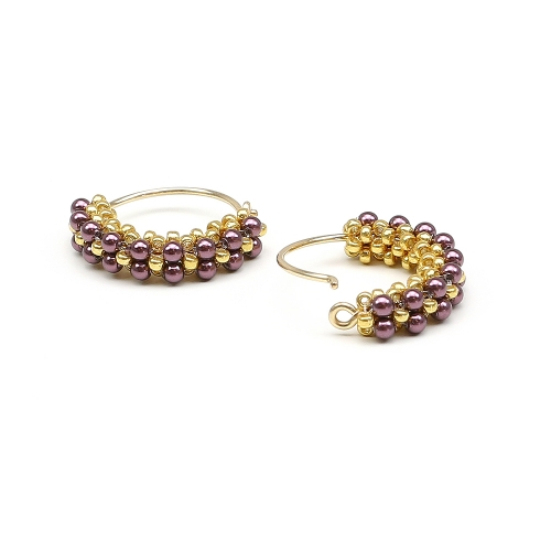Primetime Pearls Burgundy - earrings