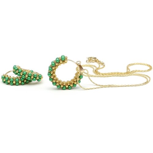 Primetime Pearls Eden Green set - pendant and earrings
