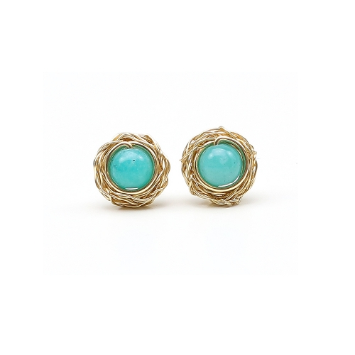 Sweet Amazonite - 14K Yellow stud earrings