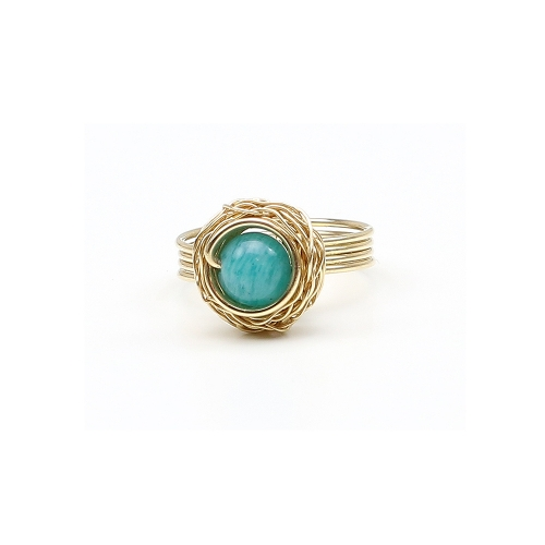 Sweet Amazonite - 14K Yellow ring