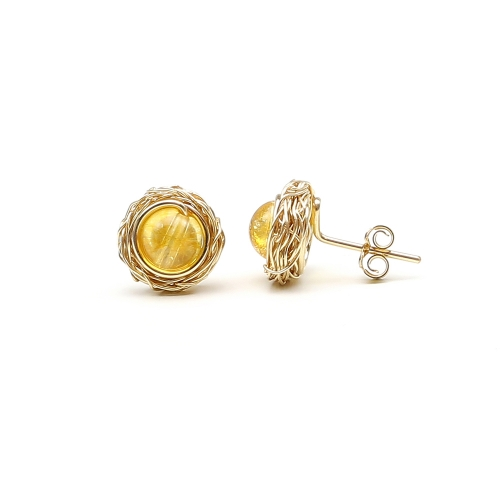 Sweet Citrine - stud earrings