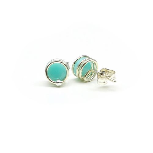 Deluxe Amazonite - 925 Silver stud earrings