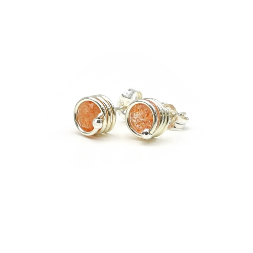 Deluxe Sunstone - 925 Silver stud earrings