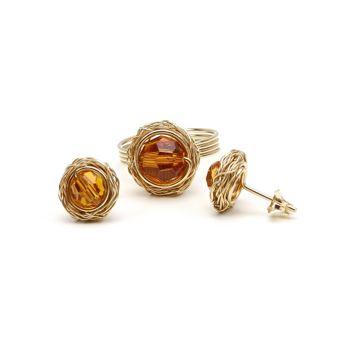 Set stud earrings and ring by Ichiban - Sweet Topaz