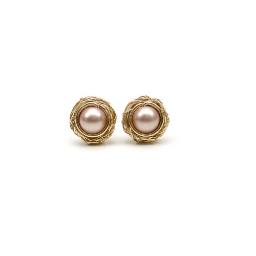 Stud earrings with Swarovski pearls - for women - Sweet Almond