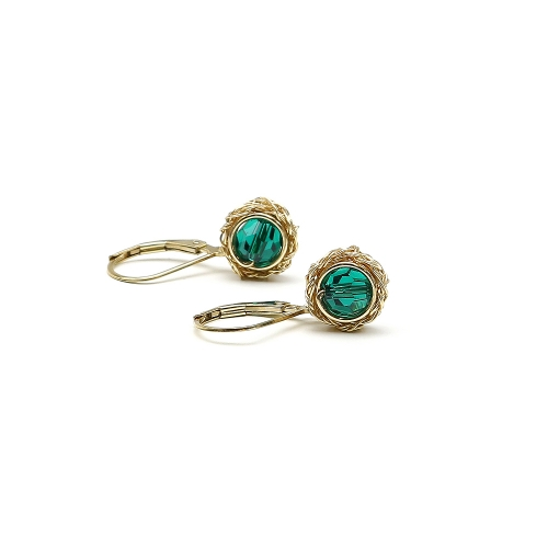 Leverback earrings with Swarovski crystals - for women - Sweet Emerald