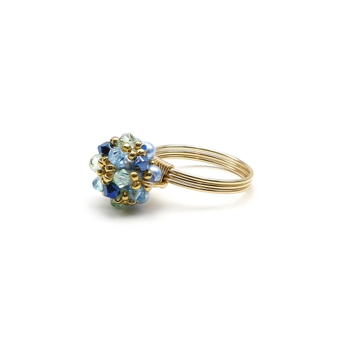 Ring with Swarovski crystals - for women - Daisies Spicy