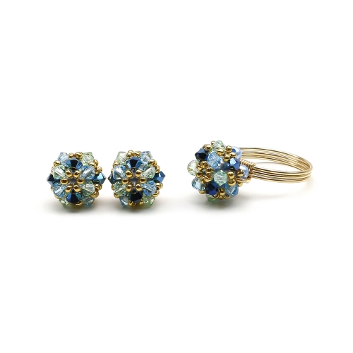 Set with Swarovski crystals - ring and stud earrings - for women - Daisies Spicy
