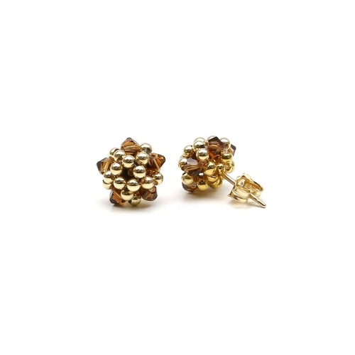 Charm Smoked Topaz - earrings