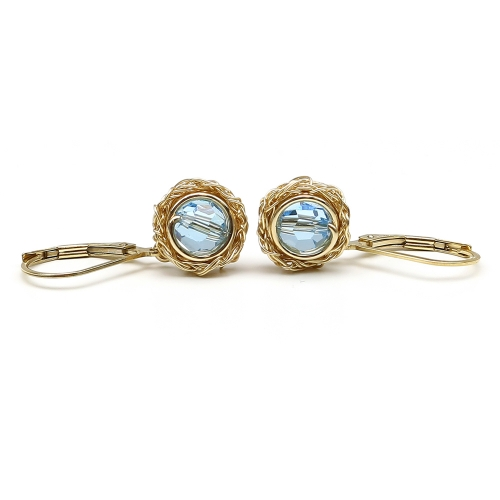 Sewarovski crystals leverback earrings for women - Sweet Aquamarine