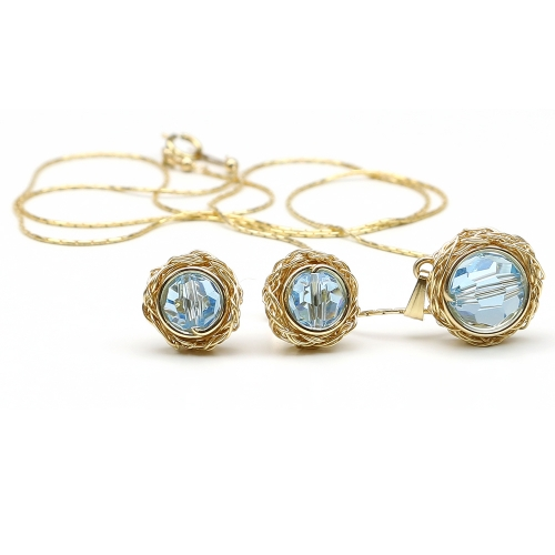 Swarovski crystals set - pendant and stud earrings for women - Sweet Aquamarine