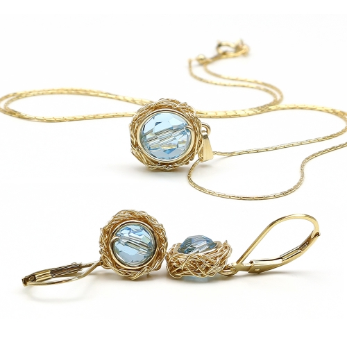 Set pendant and leverback earrings by Ichiban - Sweet Aquamarine