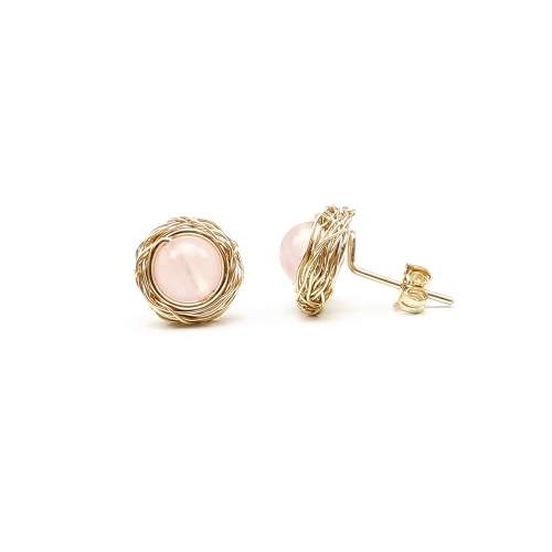 Gemstone stud earrings by Ichiban - Sweet Quart Rose