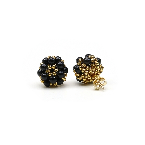 Swarovski pearls stud earrings for women - Daisies Mystic Black
