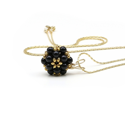 Swarovski pearls pendant for women - Daisies Mystic Black