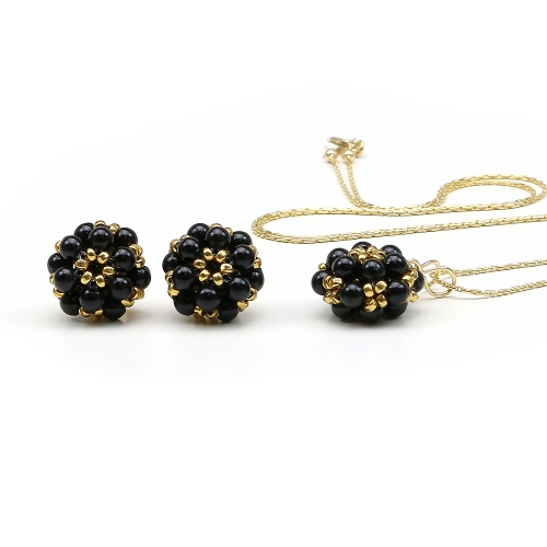 Pendant and stud earrings set with Swarovski pearls, for women - Daisies Mystic Black