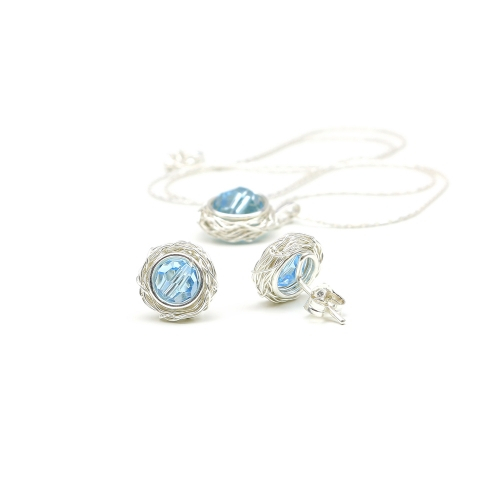 Set pendant and stud earrings by Ichiban - Sweet Aquamarine AG925