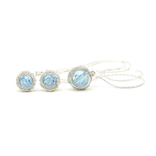 Swarovski crystals pendant and stud earrings for women - Sweet Aquamarine Set