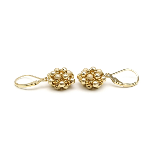 Handmade Leverback earrings - for women - Golden Daisies