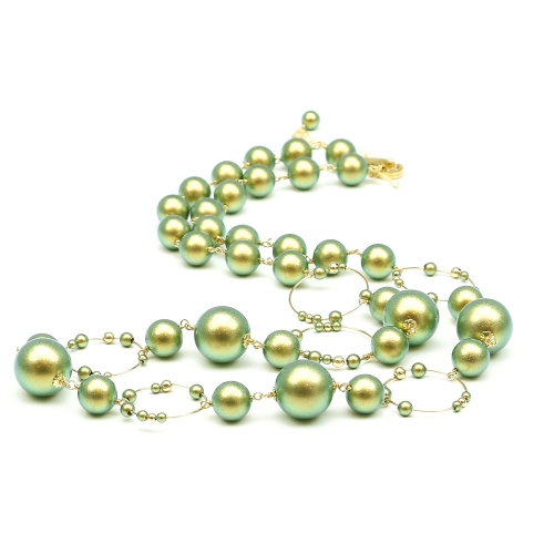 Swarovski pearls Necklace for women - Gravity Iridescent Green