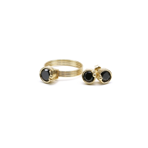 Zirconia ring  and stud earrings for women - Busted Black set