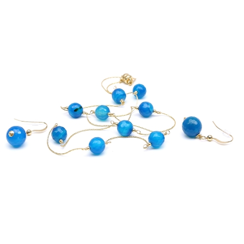 Agate Blue set - necklace and earrings