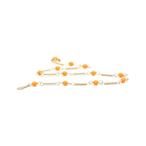 Bracelet for women - neon orange Swarovski pearls - Lady's Summer