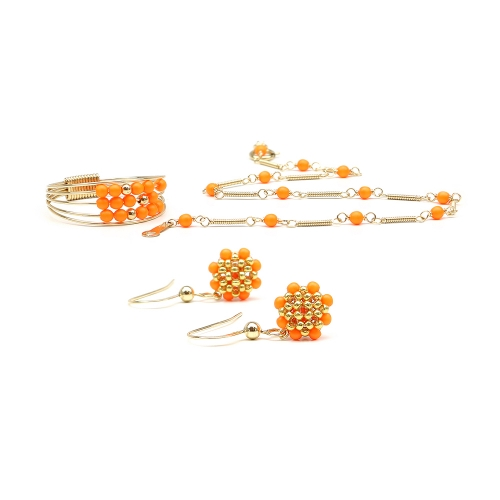 Handmade set for women - Ring, bracelet and earrings - Swarovski neon orange pearls -  Lady's Summer Set