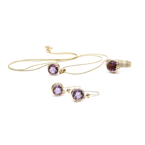 Busted Deluxe Brazilian Amethyst set - pendant, earrings and ring