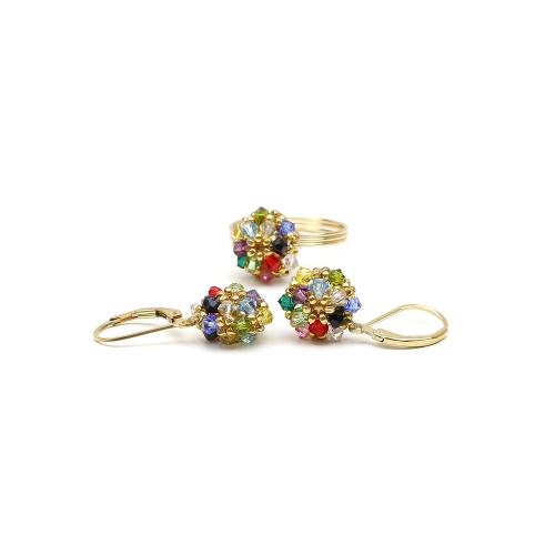 Daisies Multicolor set - ring and leverback earrings
