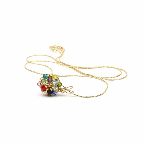Pendant with Swarovski crystals - for women - Daisies Multicolor