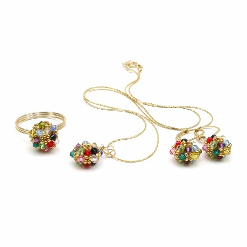 Daisies Multicolor set - pendant, leverback earrings and ring
