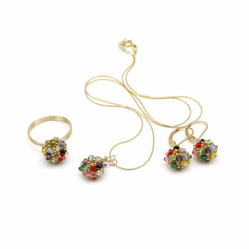 Set pendant, leverback earrings and ring by Ichiban - Daisies Multicolor