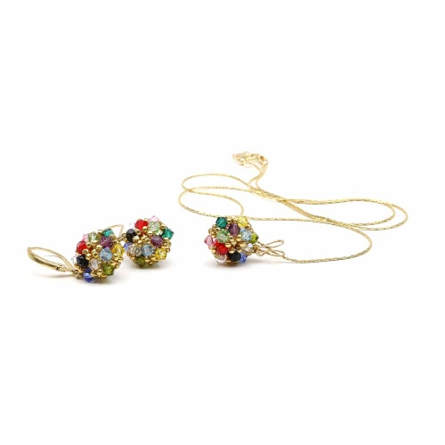 Daisies Multicolor set - pendant and leverback earrings