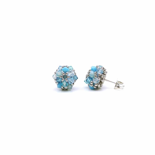 Stud earrings with Swarovski crystals - for wome - Daisies Azzuro, 925 Silver