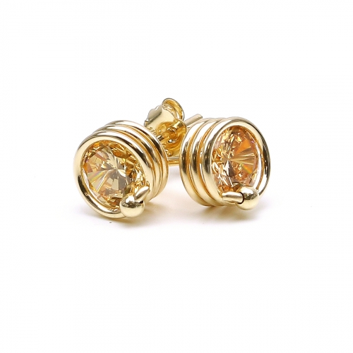 Yellow Zirconia stud earrings for women - Busted Champagne