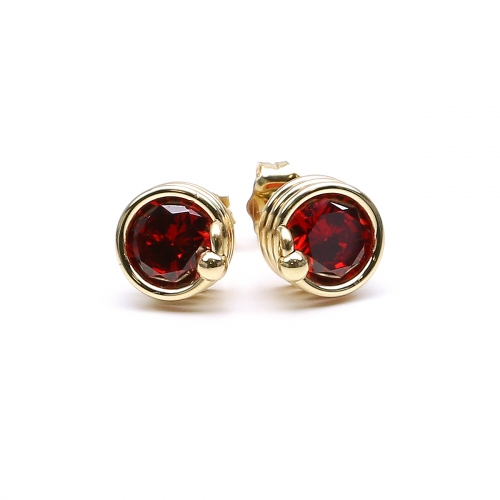Red Zirconia stud earrings for women - Busted Red